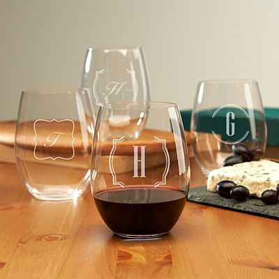 Stemless Wine Glasses - Monogram