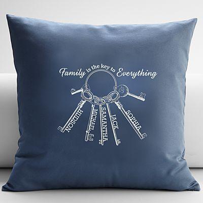The Key to Family Throw Pillow