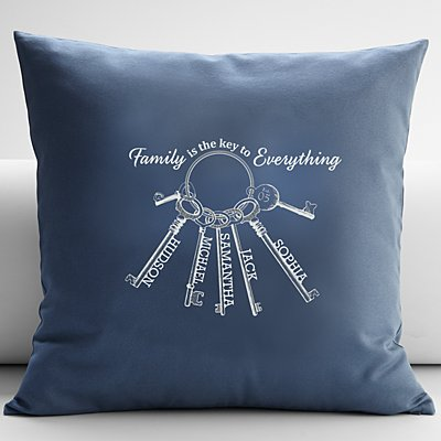 The Key to Family Throw Pillow
