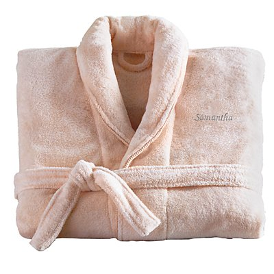 Women's Five-Star Plush Robe-Blush/Gry-S/M-Script-Name
