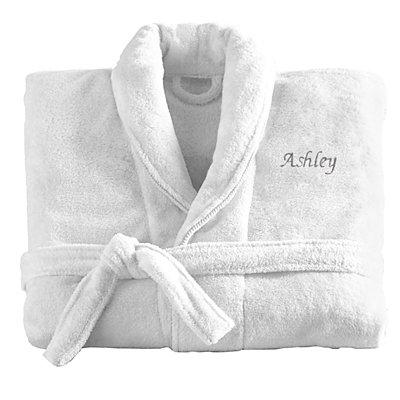 Women'sFiveStar Plush Robe-Wht/Gry-SM-Script-Name
