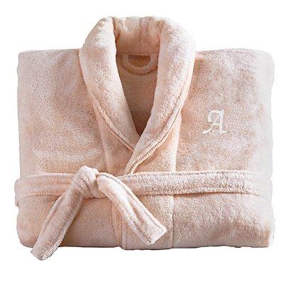 Women'sFiveStar Plush Robe-Blush/Crm-ML- Script-Initial
