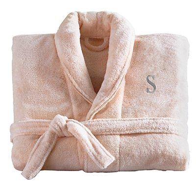 Women'sFiveStar Plush Robe-Blush/Gry-ML- Serif-Initial