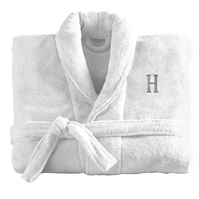 Women'sFiveStar Plush Robe-Wht/Gry-ML-Serif-Initial