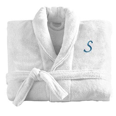 Women'sFiveStar Plush Robe-Wht/Sea Blue-ML-Script-Initial