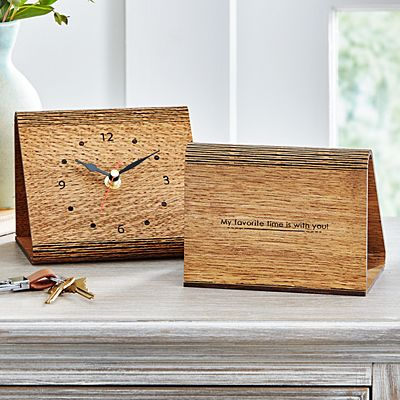 Hidden Message Wood Hinge Clock