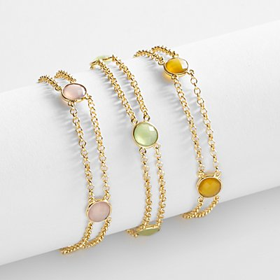 Double Chain Birthstone Bracelet