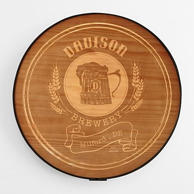 "18"" Beer Barrel Wood Sign"