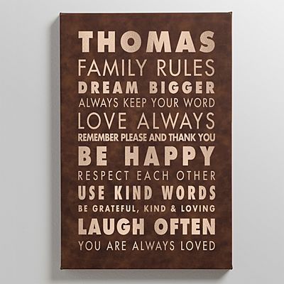 Family Rules Leather Wall Art