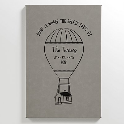 Hot Air Balloon Leather Wall Art