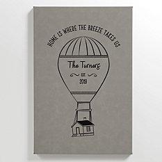 Hot Air Balloon Leather Wall Art