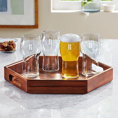 Monogram Serving + Beer Glass Set