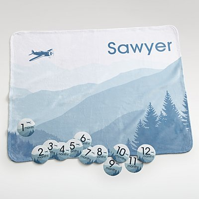 Baby Milestone Airplane Blanket Set