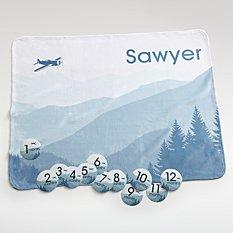 Baby Milestone Airplane Blanket Set
