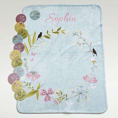 Baby Milestone Floral Blanket Set