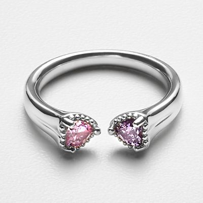 Open Heart Birthstone Ring