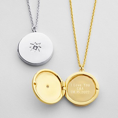Hidden Message Locket - Silver - Block