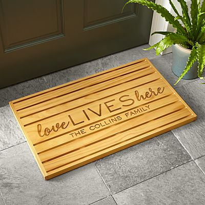 Love Lives Here Wooden Doormat