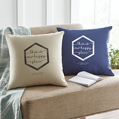 Our Happy Place Throw Pillow