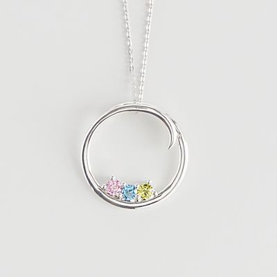 Customized Circle of Family Birthstone Necklace