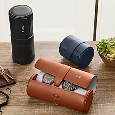 Leather Travel Watch + Accessories Roll