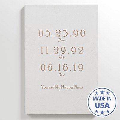 Couple's Key Dates Leather Wall Art - White