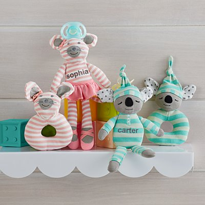 Cuddly Plush Rattle & Pacifier Buddy Set