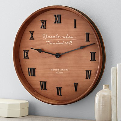 Remember When Wine Barrel Clock