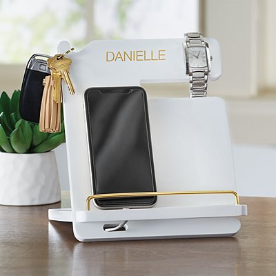Gold Embellished Wood Docking Station