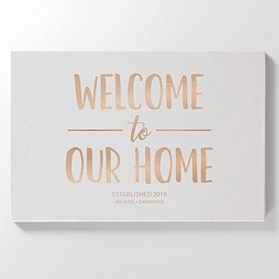 Welcome To Our Home Leather Wall Art - White