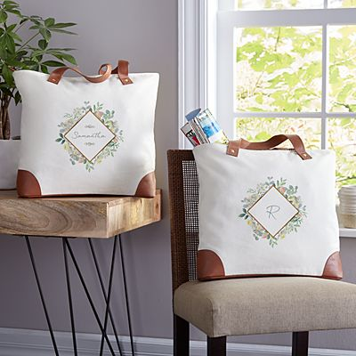 Floral Blossoms Canvas Tote