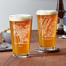 City Map Pint Beer Glass