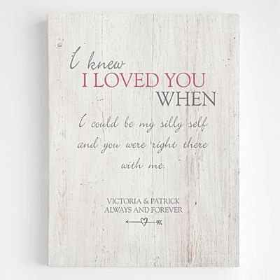 I Knew I Loved You When Canvas Wall Art