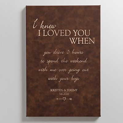 I Knew I Loved You When Leather Wall Art