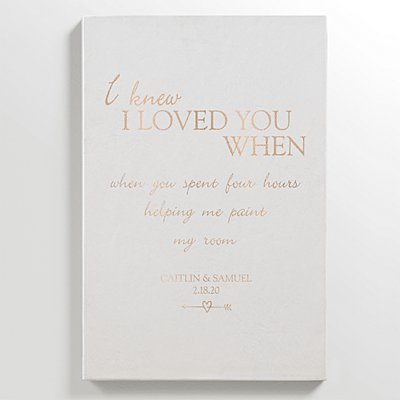 I Knew I Loved You When Leather Wall Art - White