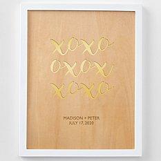 XOXO Engraved Wood Framed Art