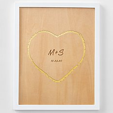 Carved Heart Engraved Wood Framed Art
