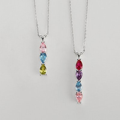 Family Birthstone Drop Necklace