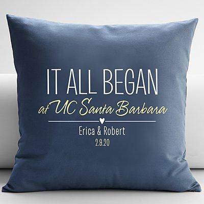 Where It All Began Throw Pillow - Blue - 18X18