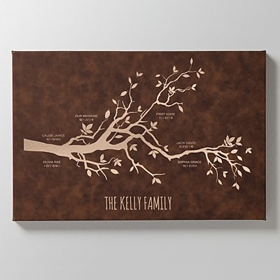 Our Family Milestones Leather Wall Art - Rustic Brown