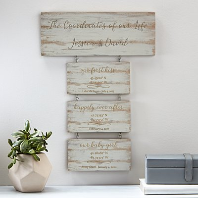 Our First Milestones Coordinates Wood Wall Art