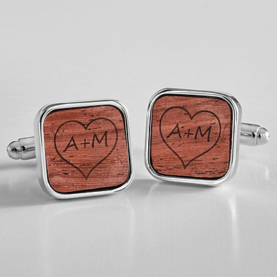 Carved Heart Wooden Cufflinks