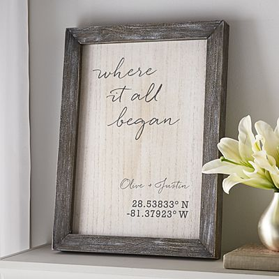 Where It All Began Coordinates Barnwood Framed Art