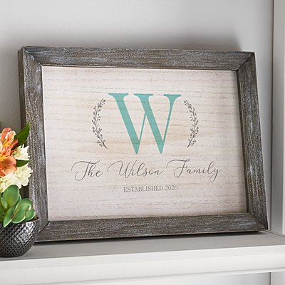 Name and Initial Barnwood Framed Art