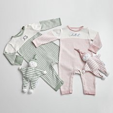 Newborn Striped Jumpsuit + Bobo Toy