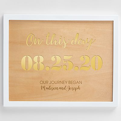 On This Day Engraved Wood Framed Art