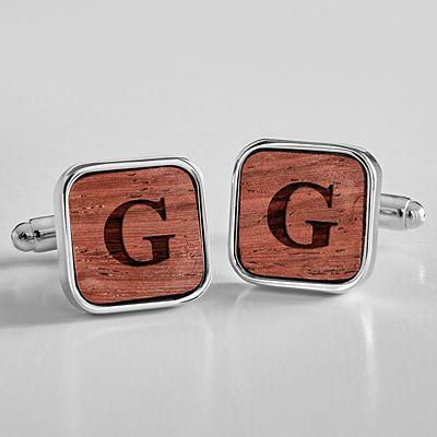Monogram Wooden Cufflinks