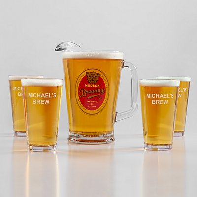 Bulldog Pitcher + Pint Beer Glass Set