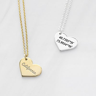 A Moment in Time Coordinates Heart Pendant
