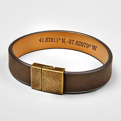 Hidden Coordinates Leather Bracelet